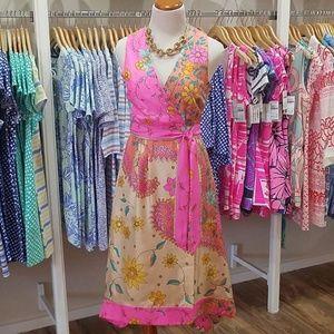 NWT Julie Brown Tea Length Faux Wrap Dress